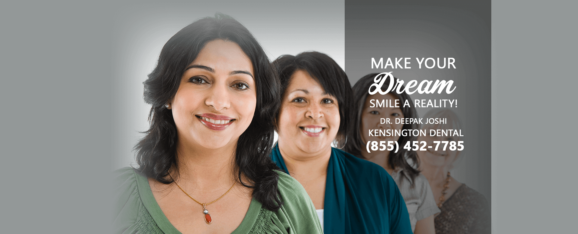 Happy family with oral health banner image at Kensington Dental with Dr. Deepak Joshi